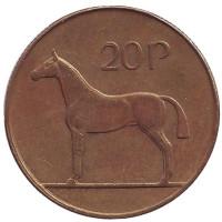 Лошадь. Монета 20 пенсов. 1995 год, Ирландия.