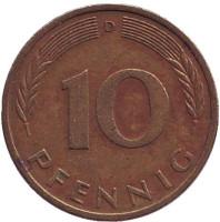Дубовые листья. Монета 10 пфеннигов. 1974 год (D), ФРГ.