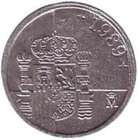 Монета 1 песета. 1989 год, Испания. (Новый тип)