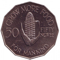 ФАО. Кукуруза. Монета 50 нгве. 1972 год, Замбия.