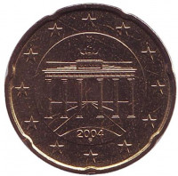 Монета 20 центов. 2004 год (F), Германия.