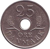 Монета 25 эре. 1969 год, Дания. C;S