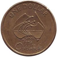 Год отдаленных районов Австралии. Монета 1 доллар. 2002 год, Австралия.