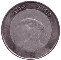 Сокол. Монета 10 динаров. 2013 год, Алжир.