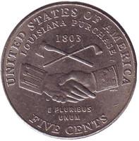 Покупка Луизианы. Монета 5 центов (P), 2004 год, США. Из обращения.