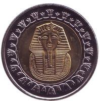 Тутанхамон. Монета 1 фунт. 2010 год, Египет. UNC.