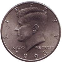 Джон Кеннеди. Монета 50 центов. 1993 год (D), США.