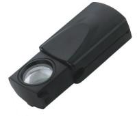 Лупа черная, выдвижная, с подсветкой, увеличение 30 х. Производство Китай.