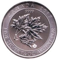 Кленовые листья. Монета 8 долларов. 2017 год, Канада.