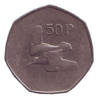 Вальдшнеп (Лесной кулик). Монета 50 пенсов. 1983 год, Ирландия.