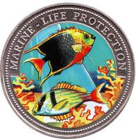 Защита морской среды. Монета 10 бутутов. 1997 год, Гамбия.