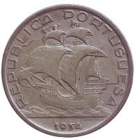 Парусник. Монета 10 эскудо. 1954 год, Португалия.