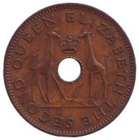 Жирафы. Монета 1/2 пенни. 1955 год, Родезия и Ньясаленд.