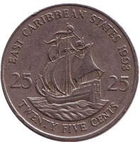 """Галеон """"Золотая лань"""" сэра Френсиса Дрейка. Монета 25 центов. 1993 год, Восточно-Карибские государства."""