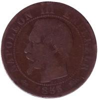 Наполеон III. Монета 5 сантимов. 1855 год (D), Франция.
