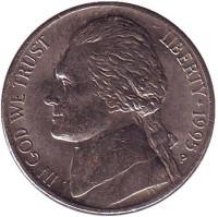 Джефферсон. Монтичелло. Монета 5 центов. 1995 год (P), США.