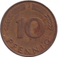 Дубовые листья. Монета 10 пфеннигов. 1975 год (J), ФРГ.