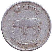 Бык. Монета 5 пайсов. 1969 год, Непал.