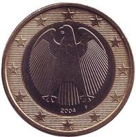Монета 1 евро. 2004 год (F), Германия.