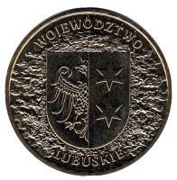 Любушское воеводство. Монета 2 злотых, 2004 год, Польша.