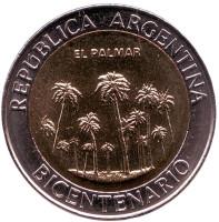 200 лет Аргентине. Парк Эль-Палмар. Монета 1 песо. 2010 год, Аргентина. UNC.