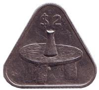 Коническая ваза на столике. Монета 2 доллара. 1992 год, Острова Кука.