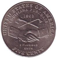 Покупка Луизианы. Монета 5 центов (D), 2004 год, США. Из обращения.