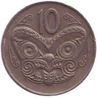 Маска маори. Монета 10 центов. 1975 год, Новая Зеландия. Из обращения.