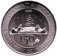150 лет Конфедерации Канада. Монета 5 долларов. 2017 год, Канада.
