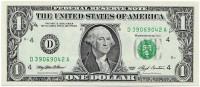 Банкнота 1 доллар. 1993 год, США.