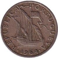Монета 2,5 эскудо. 1964 год, Португалия.