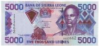 Пье Сенгбе. Банкнота 5000 леоне. 2002 год, Сьерра-Леоне.