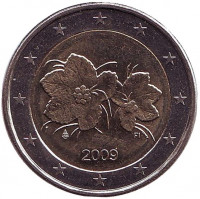 Цветы и ягоды морошки. Монета 2 евро. 2009 год, Финляндия.