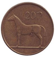 Лошадь. Монета 20 пенсов. 1992 год, Ирландия.
