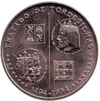 Тордесильясский договор. Монета 200 эскудо. 1994 год, Португалия.