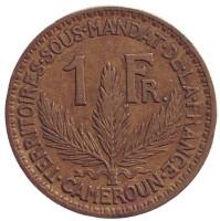 Монета 1 франк. 1925 год, Камерун.