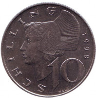 Женщина из Вахау. Монета 10 шиллингов. 1998 год, Австрия.