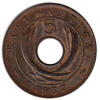 Монета 5 центов. 1957 год (H), Восточная Африка.