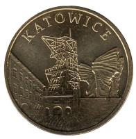 Катовице. Монета 2 злотых, 2010 год, Польша.