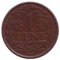Монета 1 цент. 1931 год, Нидерланды.