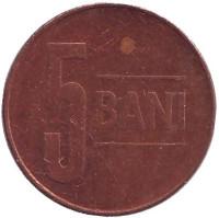 Монета 5 бани. 2009 год, Румыния.
