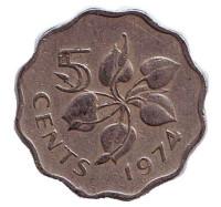 Орхидея. Монета 5 центов. 1974 год, Свазиленд.