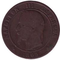 Наполеон III. Монета 10 сантимов. 1865 год (A), Франция.
