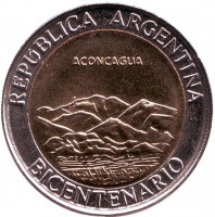 200 лет Аргентине. Вулкан Аконкагуа. Монета 1 песо. 2010 год, Аргентина. UNC.