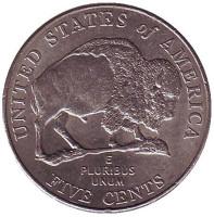 Бизон. Монета 5 центов (P), 2005 год, США. Из обращения.