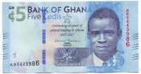 60 лет Центральному банку Ганы. Джеймс Агри. Банкнота 5 седи. 2017 год, Гана.