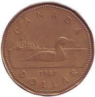 Утка. Монета 1 доллар, 1987 год, Канада.