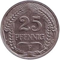 Монета 25 пфеннигов. 1910 год (F), Германская империя.