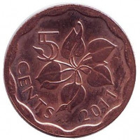 Орхидея. Монета 5 центов. 2011 год, Свазиленд.
