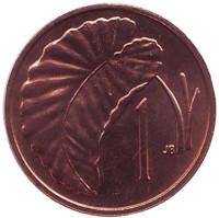 Лист Таро. Монета 1 цент. 1974 год, Острова Кука. UNC.